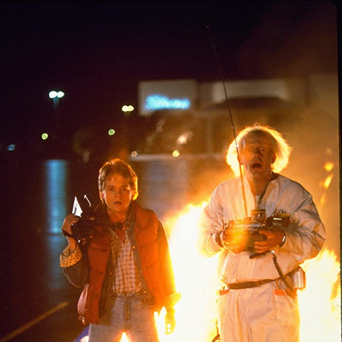 Michael J. Fox and Christopher Lloyd in Back to the Future (1985)