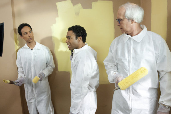 Chevy Chase, Danny Pudi, and Donald Glover in Community (2009)