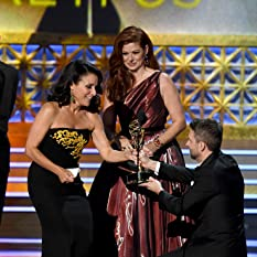 Julia Louis-Dreyfus, Debra Messing, and Chris Hardwick at an event for The 69th Primetime Emmy Awards (2017)