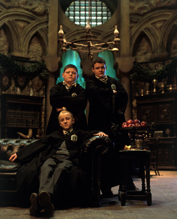 Tom Felton, Josh Herdman, and Jamie Waylett in Harry Potter and the Chamber of Secrets (2002)