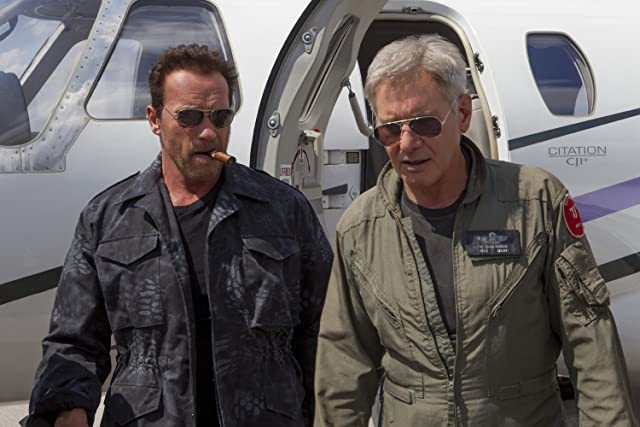 Harrison Ford and Arnold Schwarzenegger in The Expendables 3 (2014)