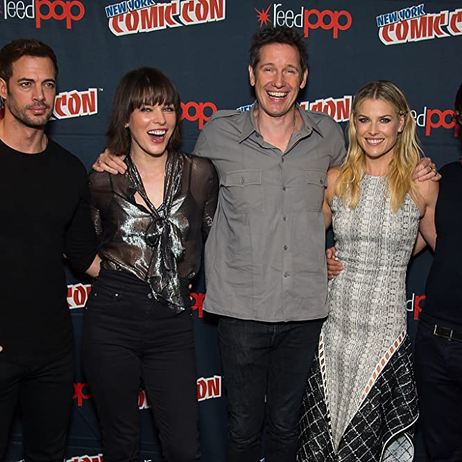 William Levy, Milla Jovovich, Paul W. S. Anderson, Ali Larter and Eoin Macken attend the Screen Gems - Resident Evil: The Final Chapter and Underworld: Blood Wars press room during 2016 New York Comic Con at The Theater at Madison Square Garden on October 7, 2016 in New York City.