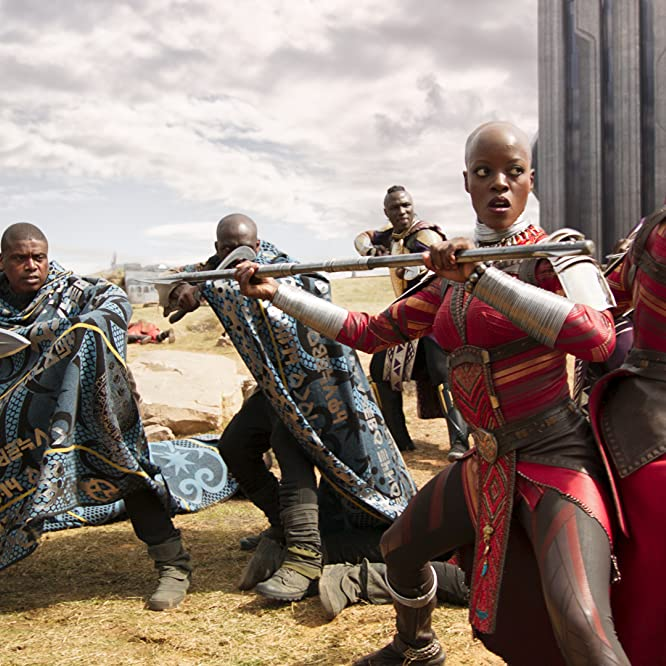 Florence Kasumba and Lupita Nyong'o in Black Panther (2018)