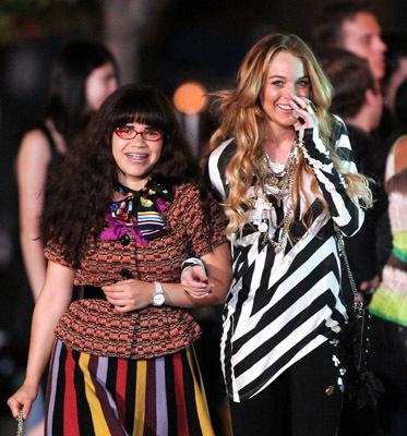 Lindsay Lohan and America Ferrera at Ugly Betty (2006)