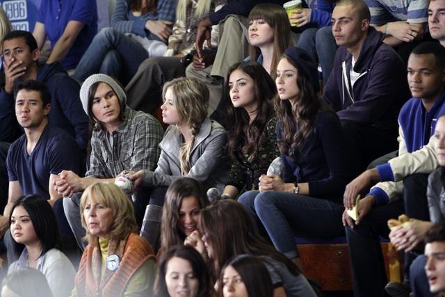 Troian Bellisario, Lucy Hale, Ashley Benson, and Tyler Blackburn in Pretty Little Liars (2010)
