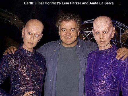 Leni Parker, director David Winning and Anita La Selva on the set of Earth: Final Conflict.