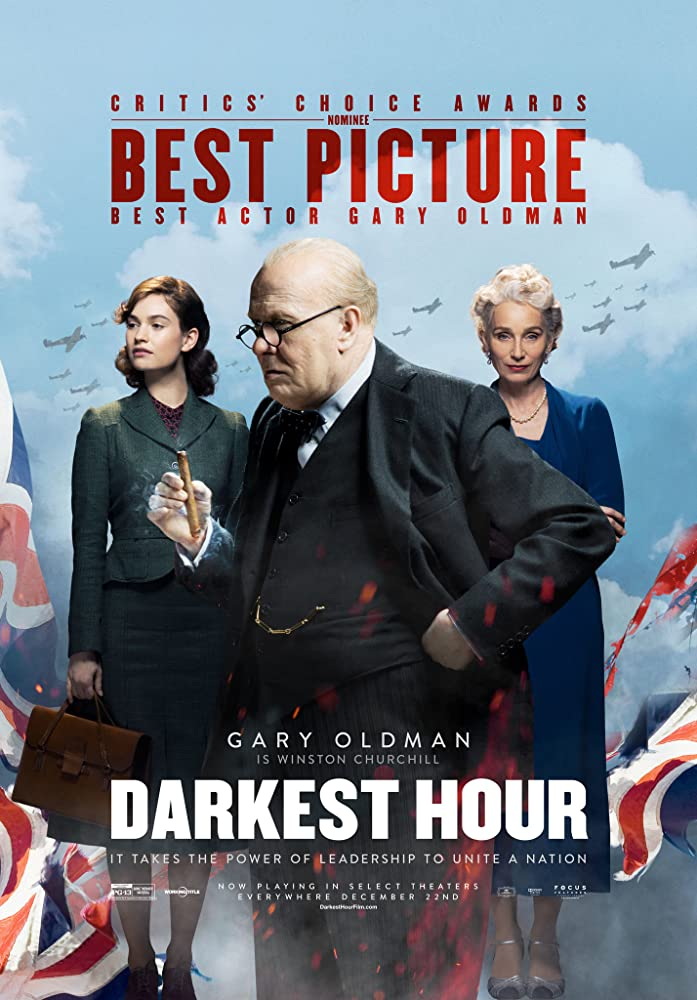 Gary Oldman, Kristin Scott Thomas, and Lily James in Darkest Hour (2017)