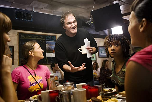 Quentin Tarantino, Zoë Bell, and Tracie Thoms in Grindhouse (2007)