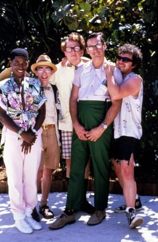 Robert Carradine, Curtis Armstrong, Timothy Busfield, Andrew Cassese, and Larry B. Scott in Revenge of the Nerds (1984)