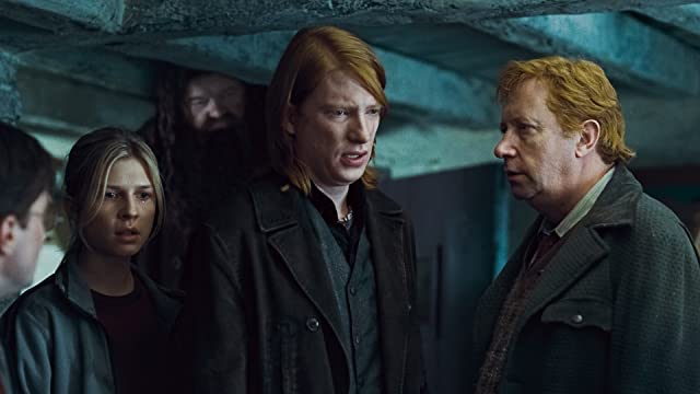 Robbie Coltrane, Mark Williams, Clémence Poésy, and Domhnall Gleeson in Harry Potter and the Deathly Hallows: Part 1 (2010)