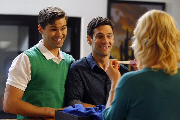 Justin Bartha, Andrew Rannells, Georgia King, and Trae Patton in The New Normal (2012)