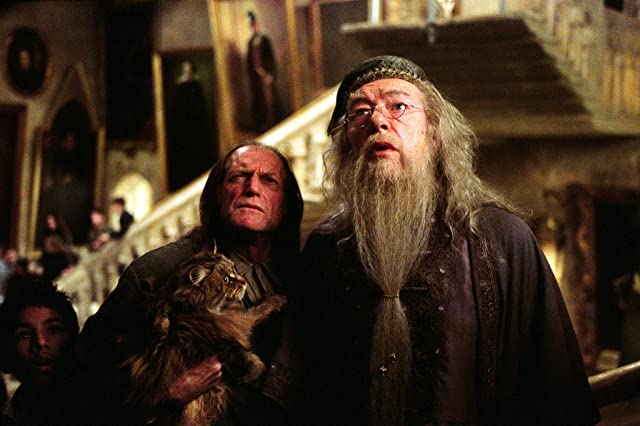 Michael Gambon and David Bradley in Harry Potter and the Prisoner of Azkaban (2004)