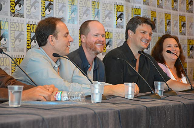 Nathan Fillion, Tim Minear, and Joss Whedon at an event for Firefly (2002)