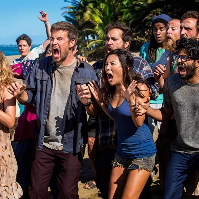 Zach Cregger, Ally Maki, Will Greenberg, Brian Sacca, Jessica Lowe, and Asif Ali in Wrecked (2016)