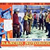 Jack Elam, Mel Ferrer, I. Stanford Jolley, Arthur Kennedy, and Dan Seymour in Rancho Notorious (1952)