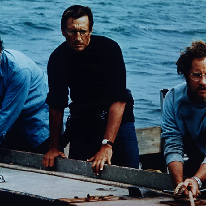 Richard Dreyfuss, Roy Scheider, and Robert Shaw in Jaws (1975)