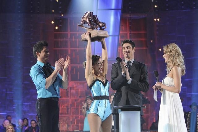 Rebecca Budig, Vernon Kay, Alicia Keys, Denis Petukhov, Johnny Weir, Tanith Belbin, Fred Palascak, Keauna McLaughlin, and Jennifer Wester in Skating with the Stars (2010)