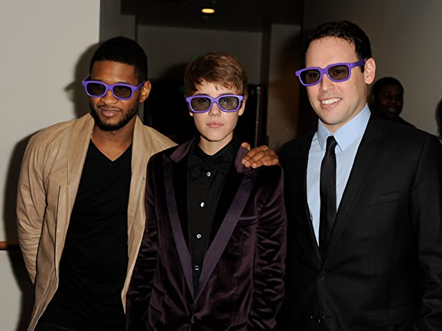 Usher Raymond, Justin Bieber, and Scooter Braun at Justin Bieber: Never Say Never (2011)
