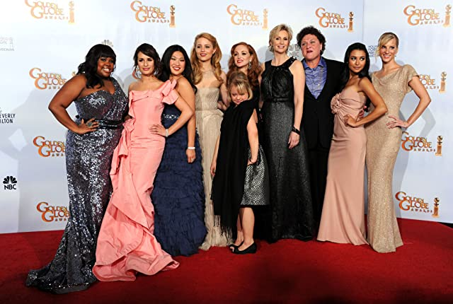 Dot-Marie Jones, Jane Lynch, Lea Michele, Naya Rivera, Jayma Mays, Dianna Agron, Jenna Ushkowitz, and Amber Riley at an event for The 68th Annual Golden Globe Awards (2011)