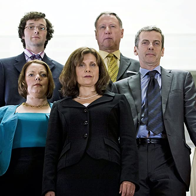 Peter Capaldi, Rebecca Front, Joanna Scanlan, James Smith, and Chris Addison in The Thick of It (2005)