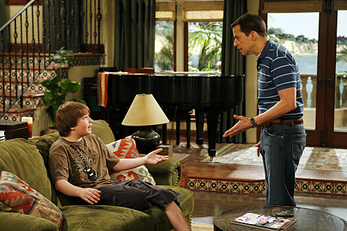 Jon Cryer and Angus T. Jones in Two and a Half Men (2003)