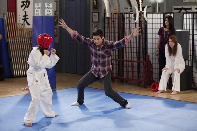 Jennifer Stone, David Henrie, Selena Gomez, and Bailee Madison in Wizards of Waverly Place (2007)