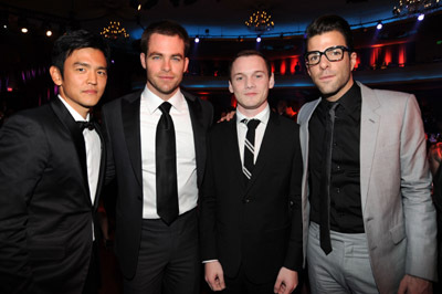 John Cho, Zachary Quinto, Anton Yelchin, and Chris Pine at 15th Annual Critics' Choice Movie Awards (2010)