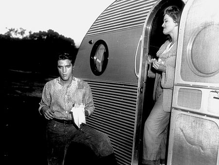 Elvis Presley and Debra Paget on the set of