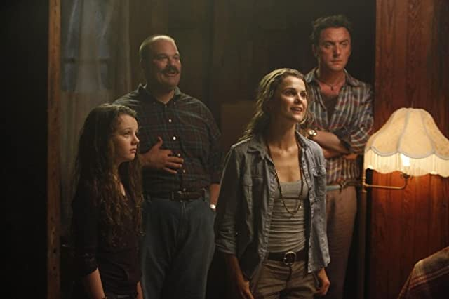 Keri Russell, Mel Rodriguez, Peter Serafinowicz, and Stefania LaVie Owen in Running Wilde (2010)
