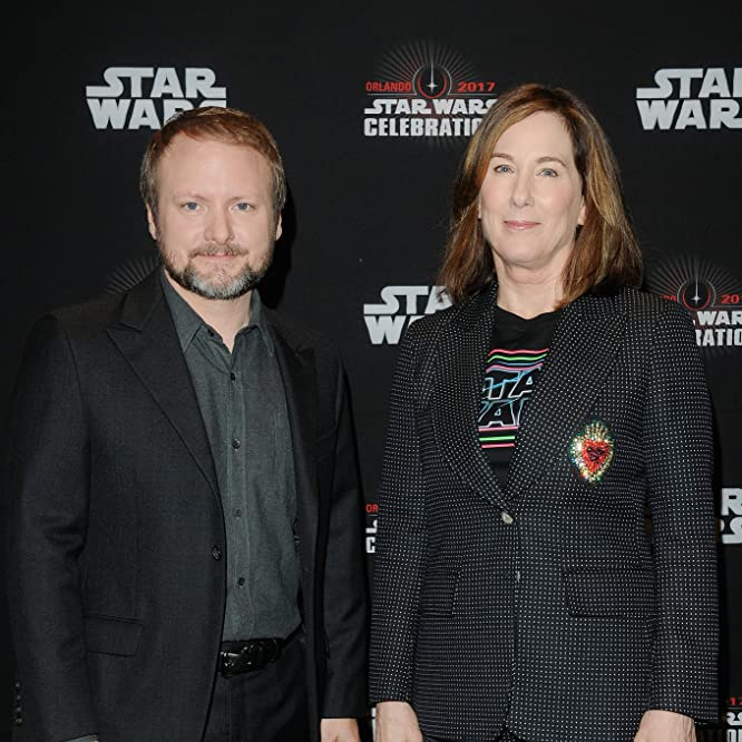 Kathleen Kennedy and Rian Johnson at an event for Star Wars: The Last Jedi (2017)