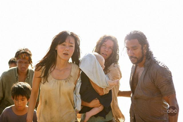 Naveen Andrews, Yunjin Kim, Evangeline Lilly, and William Blanchette in Lost (2004)