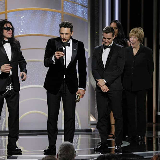 James Franco, Emma Stone, Tommy Wiseau, and Dave Franco at an event for The Disaster Artist (2017)