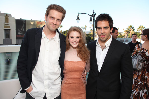 Daniel Stamm, Ashley Bell and Eli Roth at the premier of The Last Exorcism