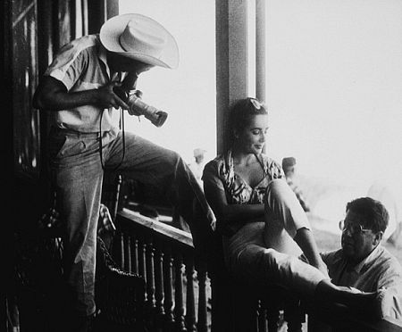 James Dean, Elizabeth Taylor and Director George Stevens on location for