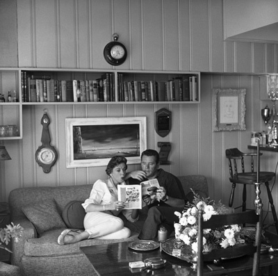Ida Lupino and her husband Howard Duff in their Los Angeles home