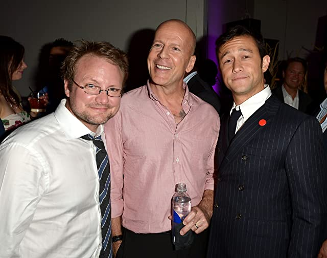 Bruce Willis, Joseph Gordon-Levitt, and Rian Johnson at Looper (2012)
