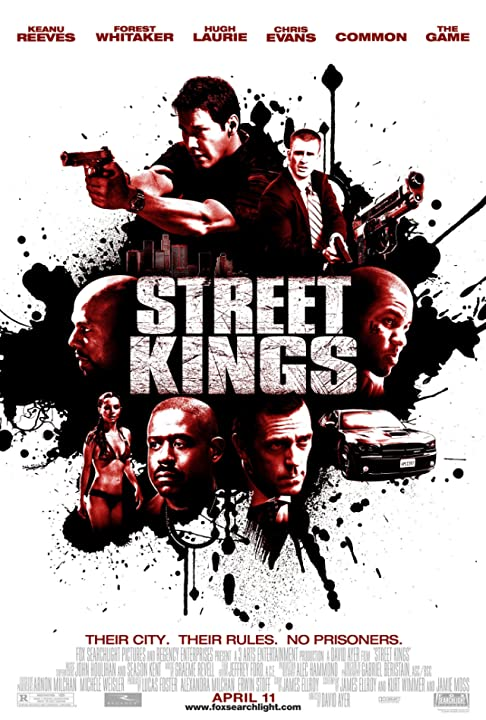 Keanu Reeves, Forest Whitaker, Chris Evans, Hugh Laurie, Common, and Game in Street Kings (2008)