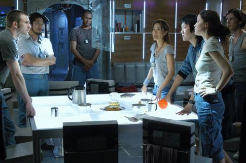 Michelle Yeoh, Troy Garity, Rose Byrne, Cliff Curtis, Chris Evans, Cillian Murphy, Hiroyuki Sanada, and Benedict Wong in Sunshine (2007)