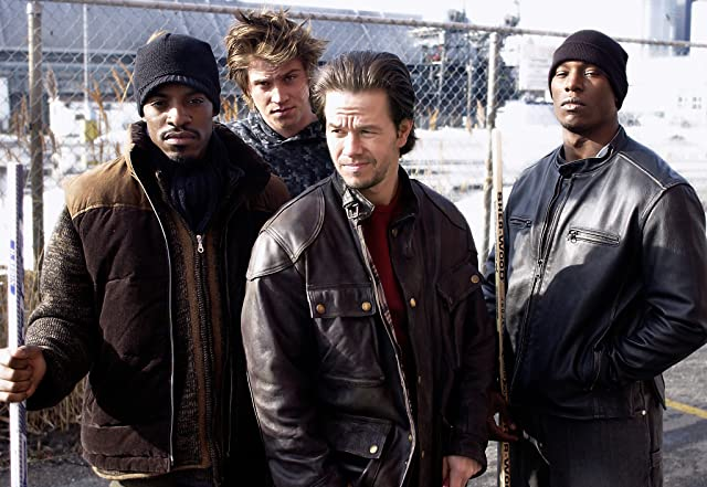 Mark Wahlberg, André Benjamin, Tyrese Gibson, and Garrett Hedlund in Four Brothers (2005)