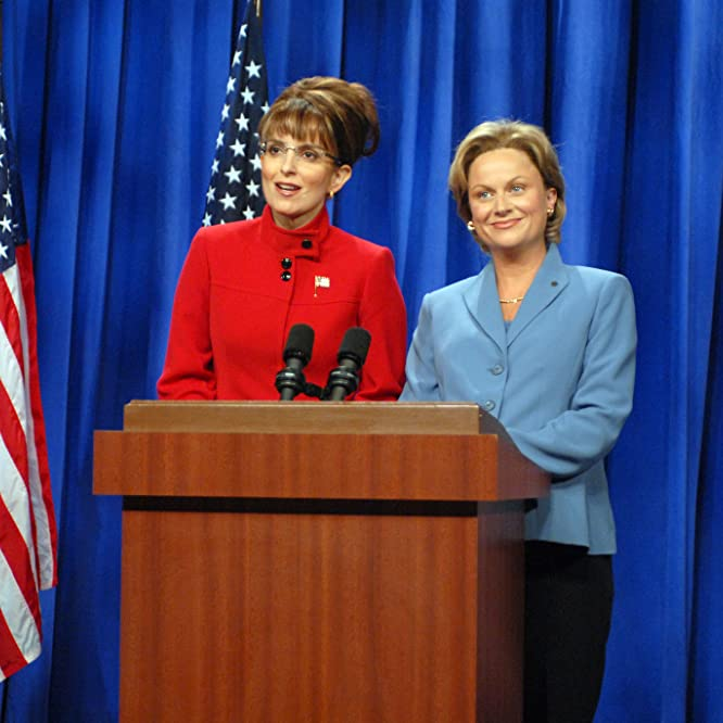 Tina Fey as Governor Sarah Palin, Amy Poehler as Senator Hillary Clinton during the 'A Nonpartisan Message From Sarah Palin & Hillary Clinton' skit on September 13, 2008