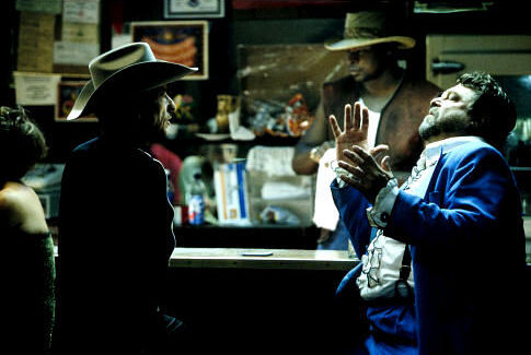 John Goodman and Bob Dylan in Masked and Anonymous (2003)