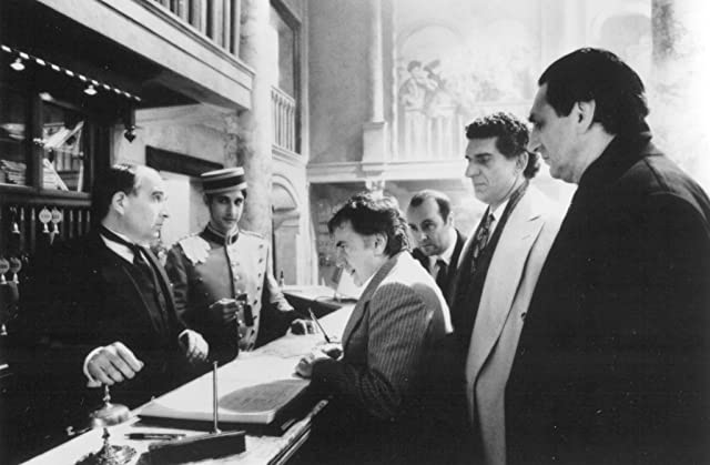 Dudley Moore, Bronson Pinchot, and Andreas Katsulas in Blame It on the Bellboy (1992)