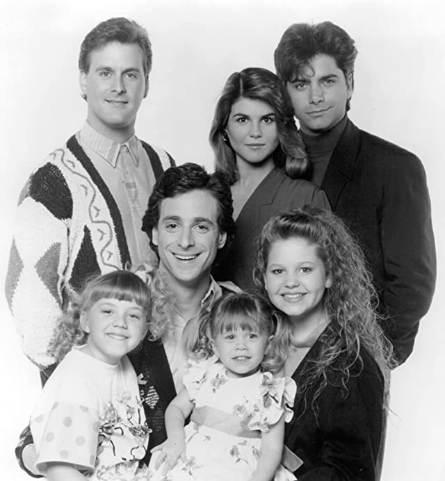 Mary-Kate Olsen, John Stamos, Candace Cameron Bure, Dave Coulier, Lori Loughlin, Bob Saget, and Jodie Sweetin in Full House (1987)