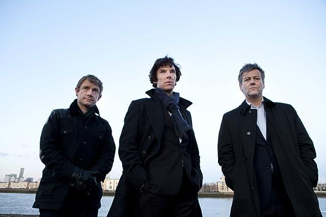 Rupert Graves, Martin Freeman, and Benedict Cumberbatch in Sherlock (2010)