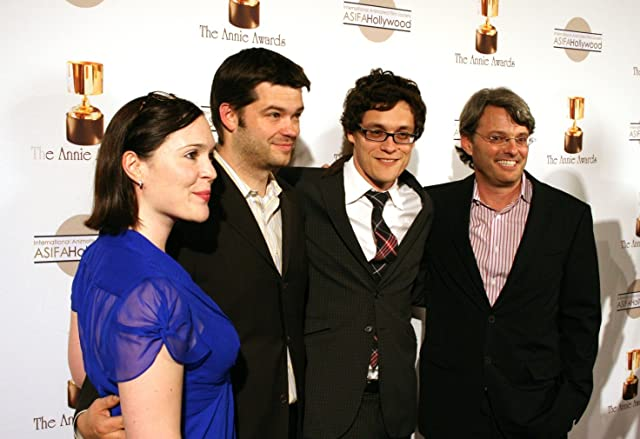 Studio execs Hannah Minghella and Bob Osher flank directors of Cloudy with a Chance of Meatballs, Phil Lord and Chris Miller