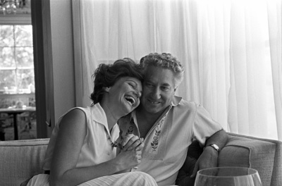 Budd Schulberg at home with his wife Geraldine Brooks