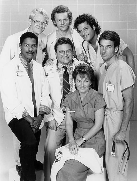Denzel Washington, Ed Begley Jr., Mark Harmon, David Morse, Howie Mandel, Cynthia Sikes, and Stephen Furst in St. Elsewhere (1982)