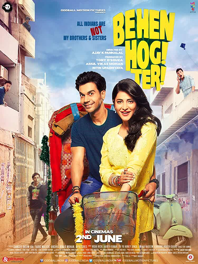 Poster Behen Hogi Teri 2017 Full HD Movie Download Free 720p