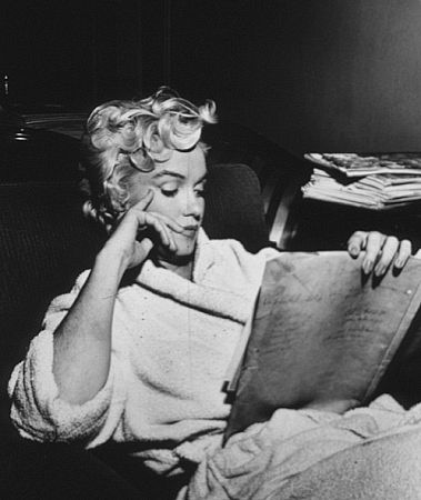 M. Monroe during a break from filming