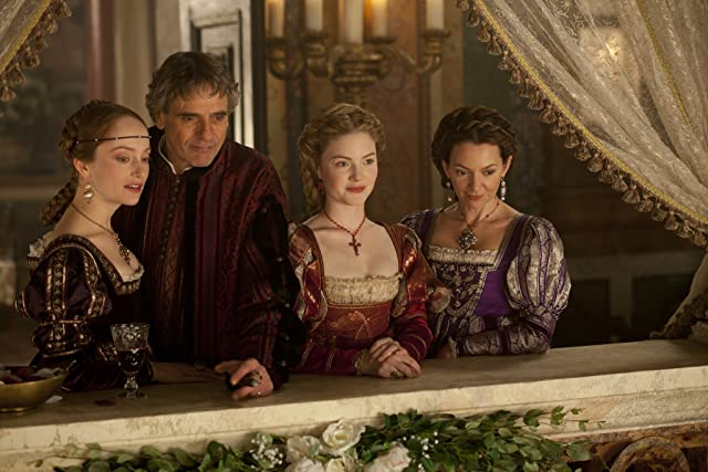 Jeremy Irons, Joanne Whalley, Holliday Grainger, and Lotte Verbeek in The Borgias (2011)